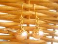 ラベンダー淡水パール&四つ葉のクローバーピアス(イヤリング)