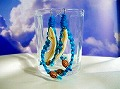 ターコイズヘンプ&貝殻珊瑚ピアス(イヤリング)